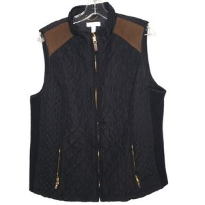 CHARTER CLUB Black Quilted Brown Patch Vest